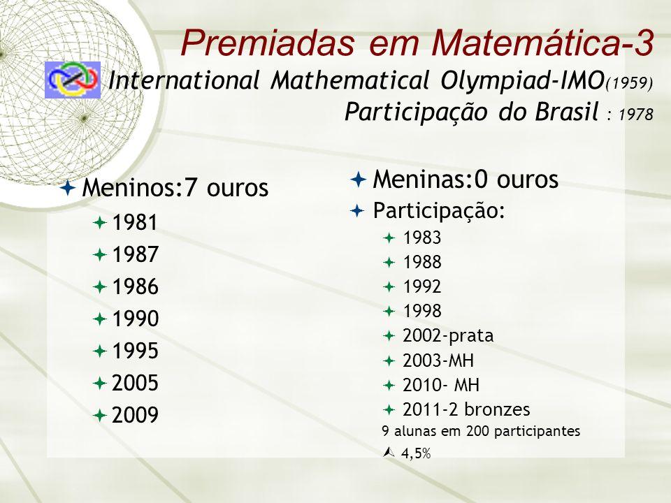 Premiadas em Matemática-3 International Mathematical Olympiad-IMO (1959) Participação do Brasil : 1978 Meninos:7 ouros 1981 1987 1986 1990 1995 2005 2