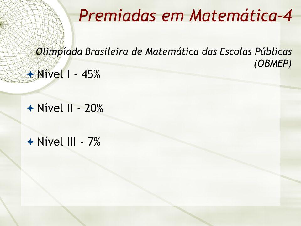 Premiadas em Matemática-4 Olimpíada Brasileira de Matemática das Escolas Públicas (OBMEP) Nível I - 45% Nível II - 20% Nível III - 7%