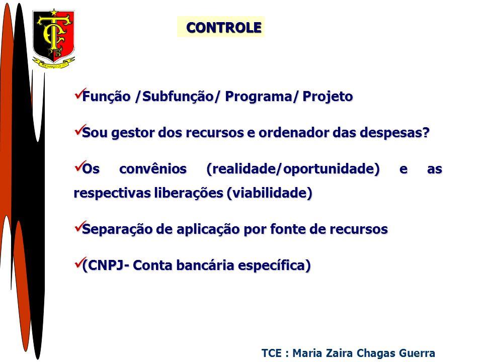 Função /Subfunção/ Programa/ Projeto Função /Subfunção/ Programa/ Projeto Sou gestor dos recursos e ordenador das despesas.
