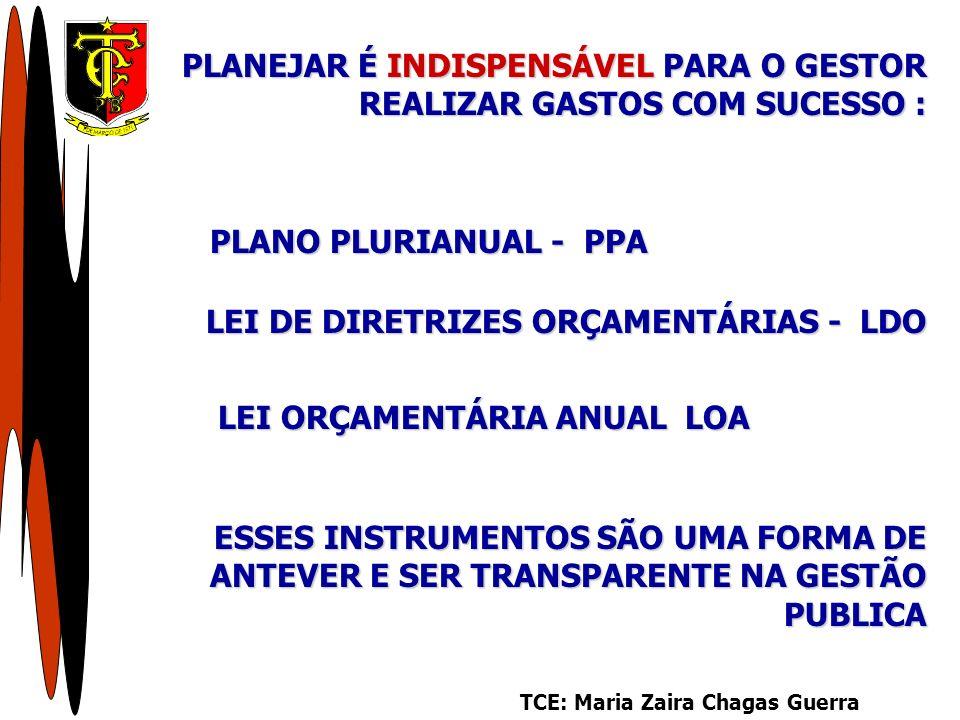 PLANO PLURIANUAL - PPA TCE: Maria Zaira Chagas Guerra PLANEJAR É INDISPENSÁVEL PARA O GESTOR REALIZAR GASTOS COM SUCESSO : LEI DE DIRETRIZES ORÇAMENTÁRIAS - LDO LEI ORÇAMENTÁRIA ANUAL LOA ESSES INSTRUMENTOS SÃO UMA FORMA DE ANTEVER E SER TRANSPARENTE NA GESTÃO PUBLICA