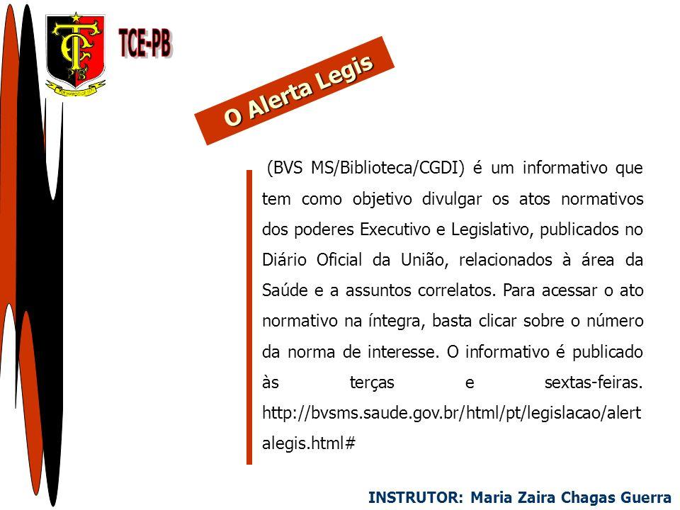 (BVS MS/Biblioteca/CGDI) é um informativo que tem como objetivo divulgar os atos normativos dos poderes Executivo e Legislativo, publicados no Diário