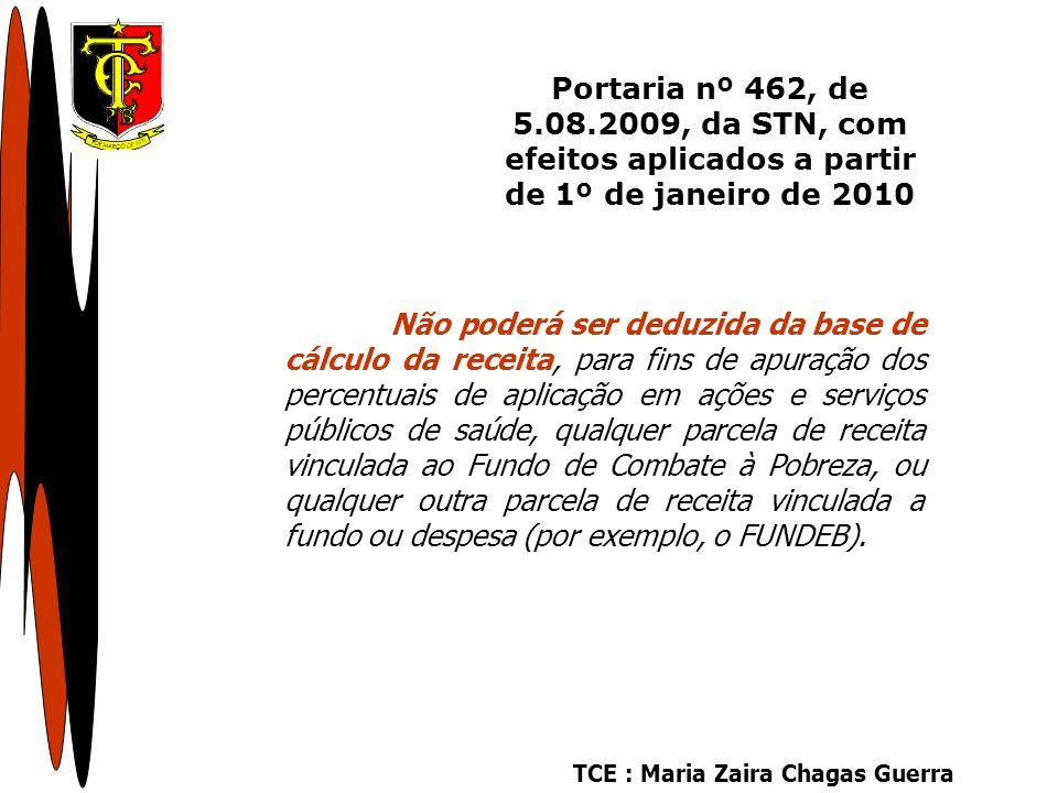 TCE : Maria Zaira Chagas Guerra Não poderá ser deduzida da base de cálculo da receita, para fins de apuração dos percentuais de aplicação em ações e serviços públicos de saúde, qualquer parcela de receita vinculada ao Fundo de Combate à Pobreza, ou qualquer outra parcela de receita vinculada a fundo ou despesa (por exemplo, o FUNDEB).