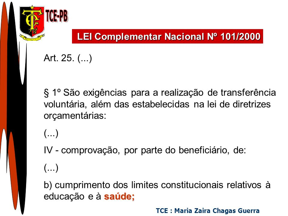 TCE : Maria Zaira Chagas Guerra Art. 25.