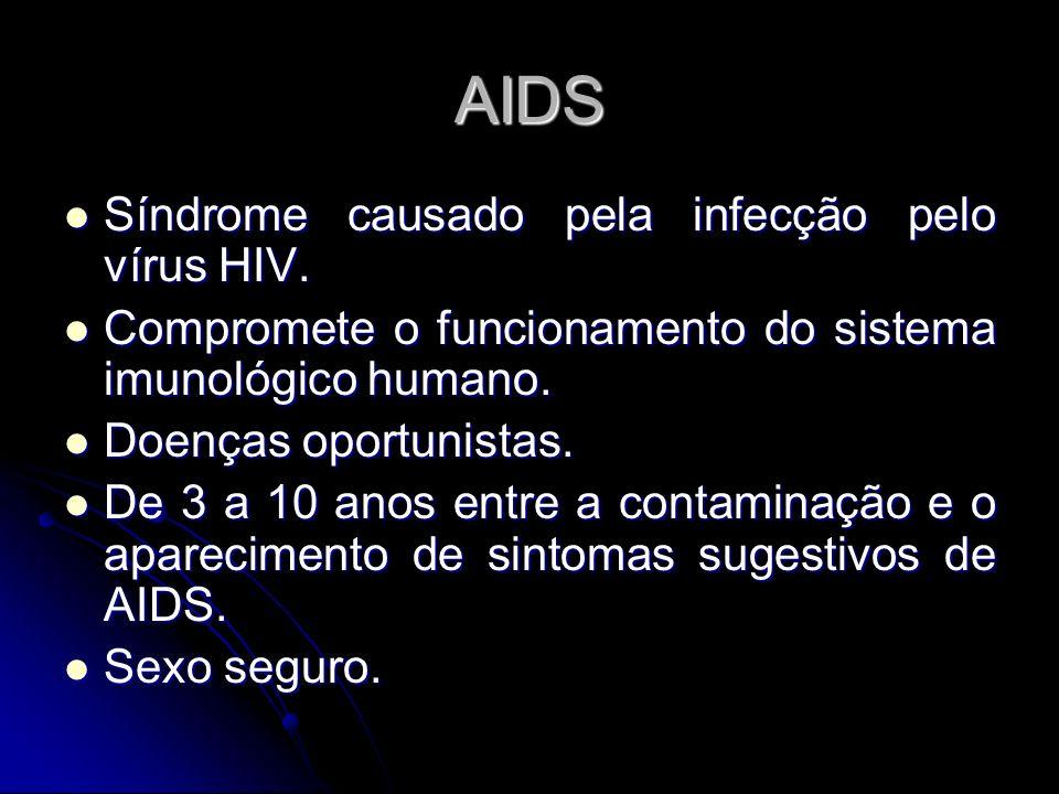 AIDS Síndrome causado pela infecção pelo vírus HIV. Síndrome causado pela infecção pelo vírus HIV. Compromete o funcionamento do sistema imunológico h
