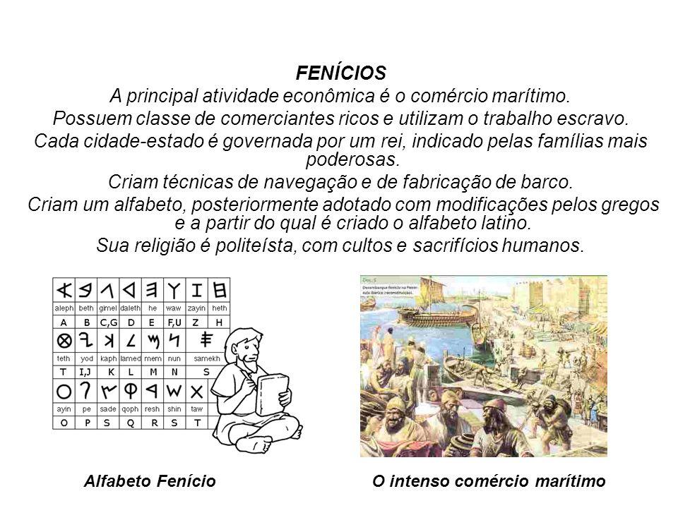 FENÍCIOS A principal atividade econômica é o comércio marítimo. Possuem classe de comerciantes ricos e utilizam o trabalho escravo. Cada cidade-estado