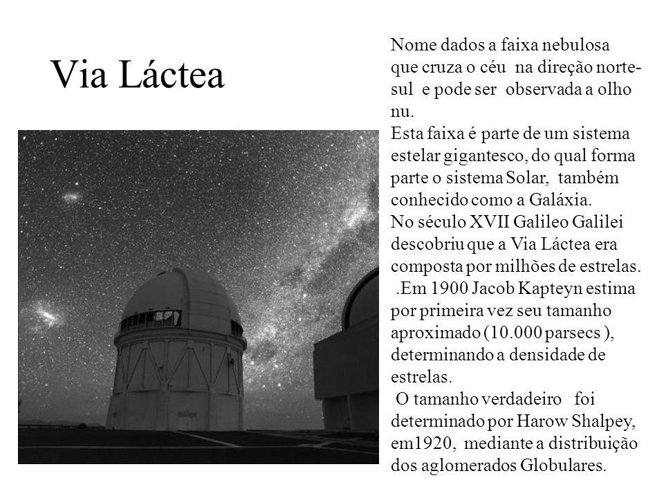 Via Láctea Nome dados a faixa nebulosa que cruza o céu na direção norte- sul e pode ser observada a olho nu. Esta faixa é parte de um sistema estelar