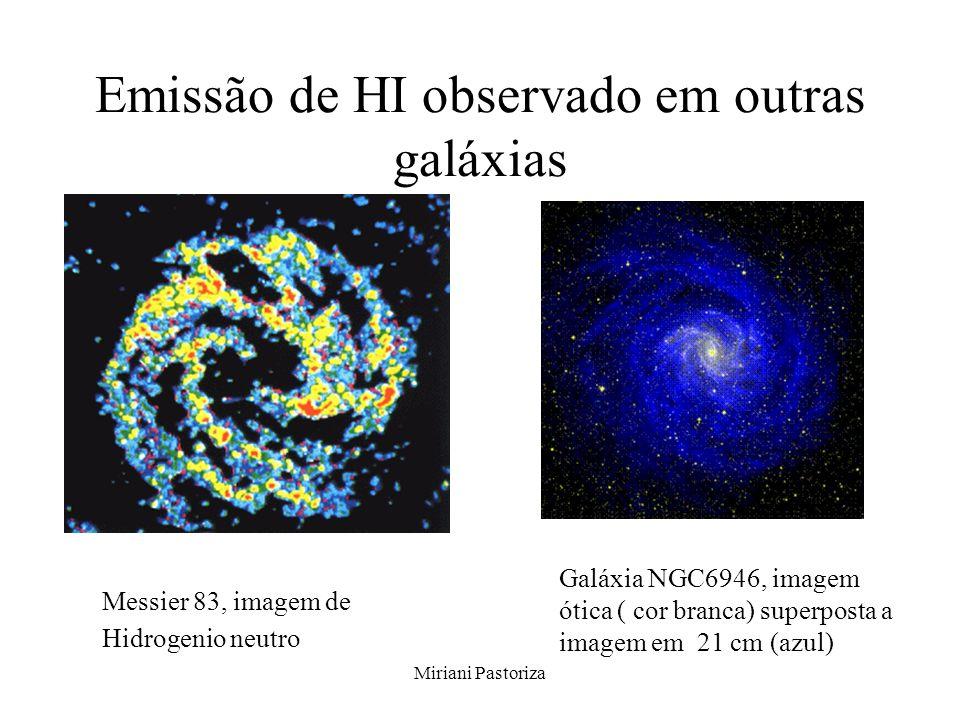 Miriani Pastoriza Emissão de HI observado em outras galáxias Messier 83, imagem de Hidrogenio neutro Galáxia NGC6946, imagem ótica ( cor branca) super