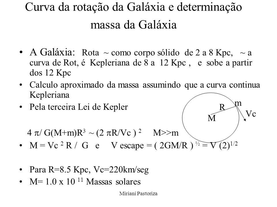 Miriani Pastoriza Curva da rotação da Galáxia e determinação massa da Galáxia A Galáxia: Rota ~ como corpo sólido de 2 a 8 Kpc, ~ a curva de Rot, é Ke