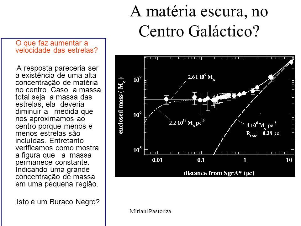 Miriani Pastoriza A matéria escura, no Centro Galáctico? O que faz aumentar a velocidade das estrelas? A resposta pareceria ser a existência de uma al