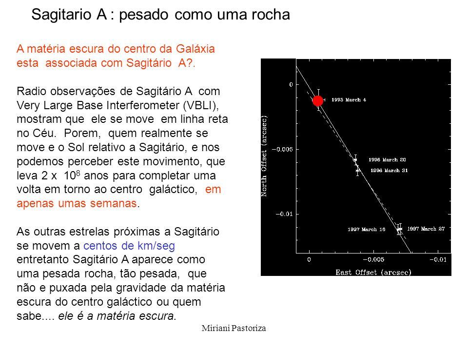 Miriani Pastoriza A matéria escura do centro da Galáxia esta associada com Sagitário A?. Radio observações de Sagitário A com Very Large Base Interfer
