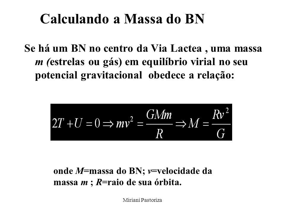 Miriani Pastoriza Calculando a Massa do BN Se há um BN no centro da Via Lactea, uma massa m (estrelas ou gás) em equilíbrio virial no seu potencial gr