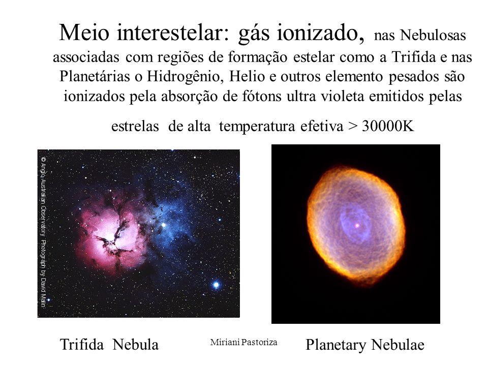 Miriani Pastoriza Meio interestelar: gás ionizado, nas Nebulosas associadas com regiões de formação estelar como a Trifida e nas Planetárias o Hidrogê