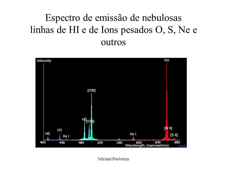 Miriani Pastoriza Espectro de emissão de nebulosas linhas de HI e de Ions pesados O, S, Ne e outros