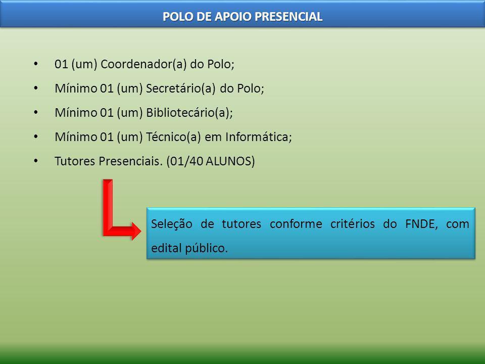 01 (um) Coordenador(a) do Polo; Mínimo 01 (um) Secretário(a) do Polo; Mínimo 01 (um) Bibliotecário(a); Mínimo 01 (um) Técnico(a) em Informática; Tutor