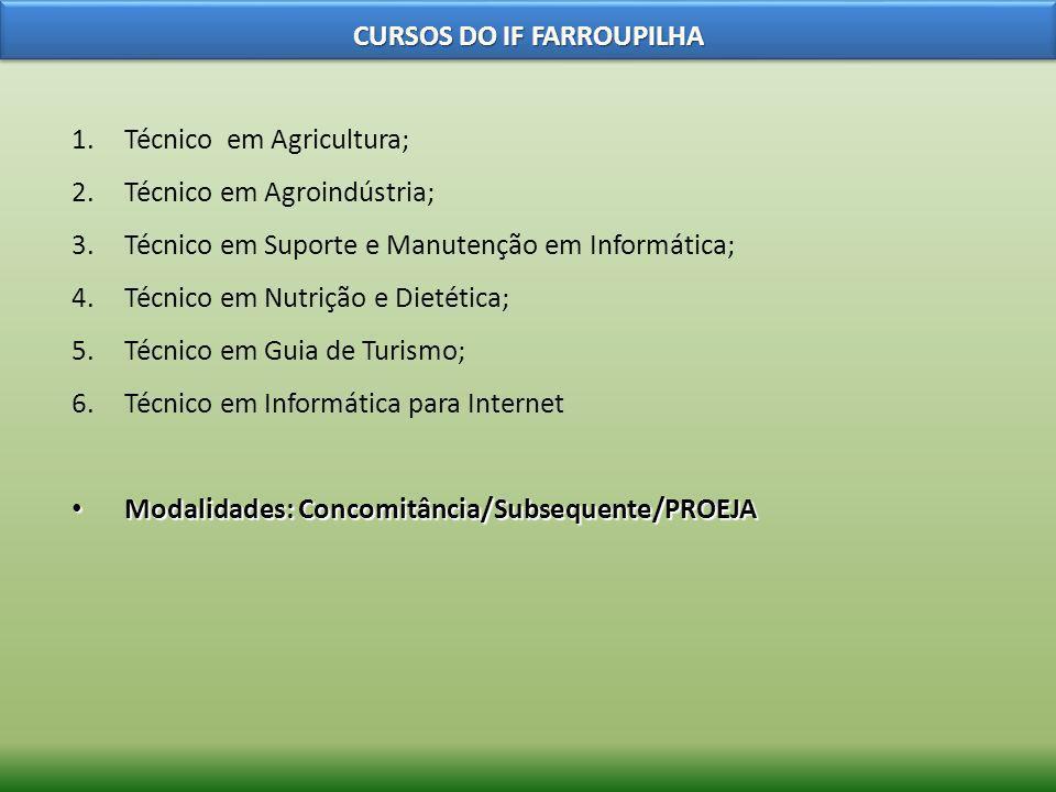 1.Técnico em Agricultura; 2.Técnico em Agroindústria; 3.Técnico em Suporte e Manutenção em Informática; 4.Técnico em Nutrição e Dietética; 5.Técnico e