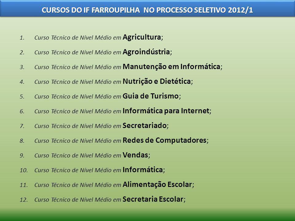 1.Curso Técnico de Nível Médio em Agricultura; 2.Curso Técnico de Nível Médio em Agroindústria; 3.Curso Técnico de Nível Médio em Manutenção em Inform