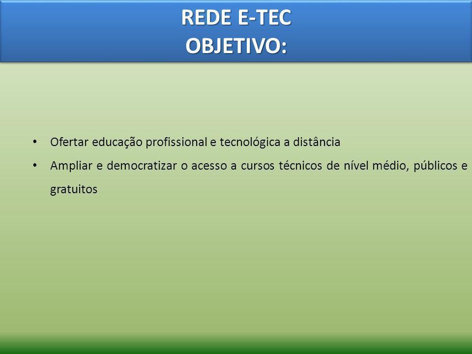 REDE E-TEC OBJETIVO: Ofertar educação profissional e tecnológica a distância Ampliar e democratizar o acesso a cursos técnicos de nível médio, público