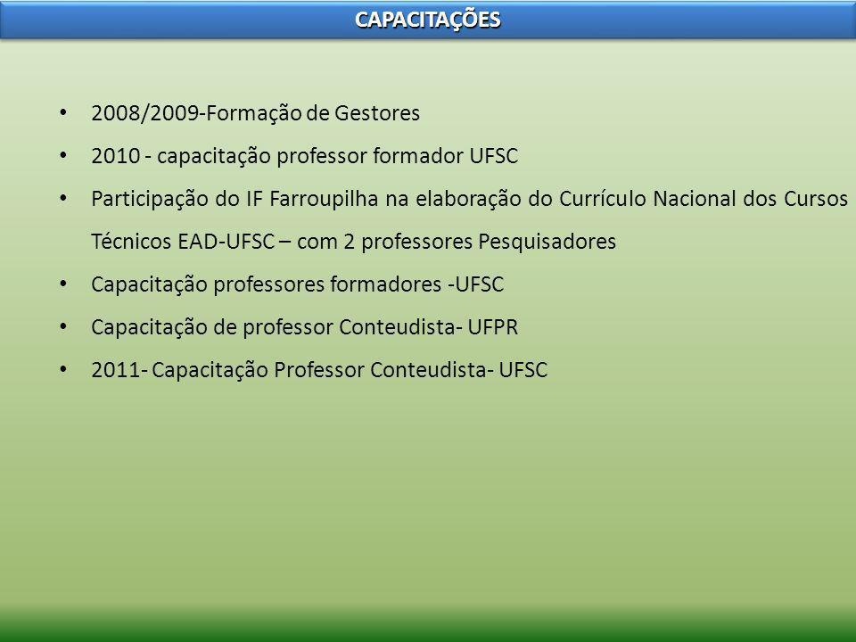 CAPACITAÇÕESCAPACITAÇÕES 2008/2009-Formação de Gestores 2010 - capacitação professor formador UFSC Participação do IF Farroupilha na elaboração do Cur