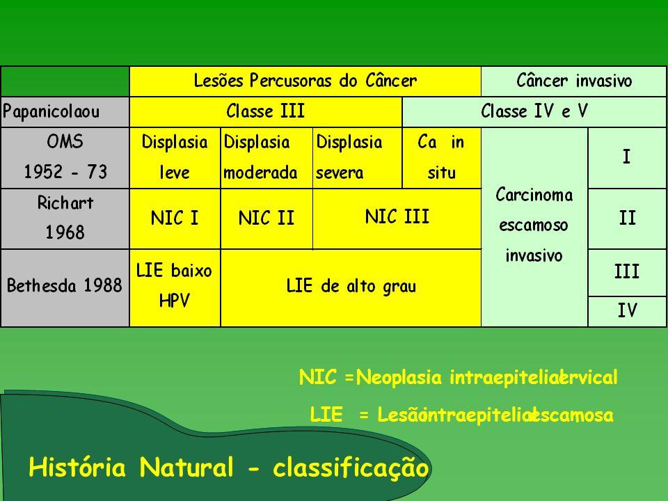 História Natural - classificação NIC =Neoplasia intraepitelialcervical LIE = Lesãointraepitelialescamosa