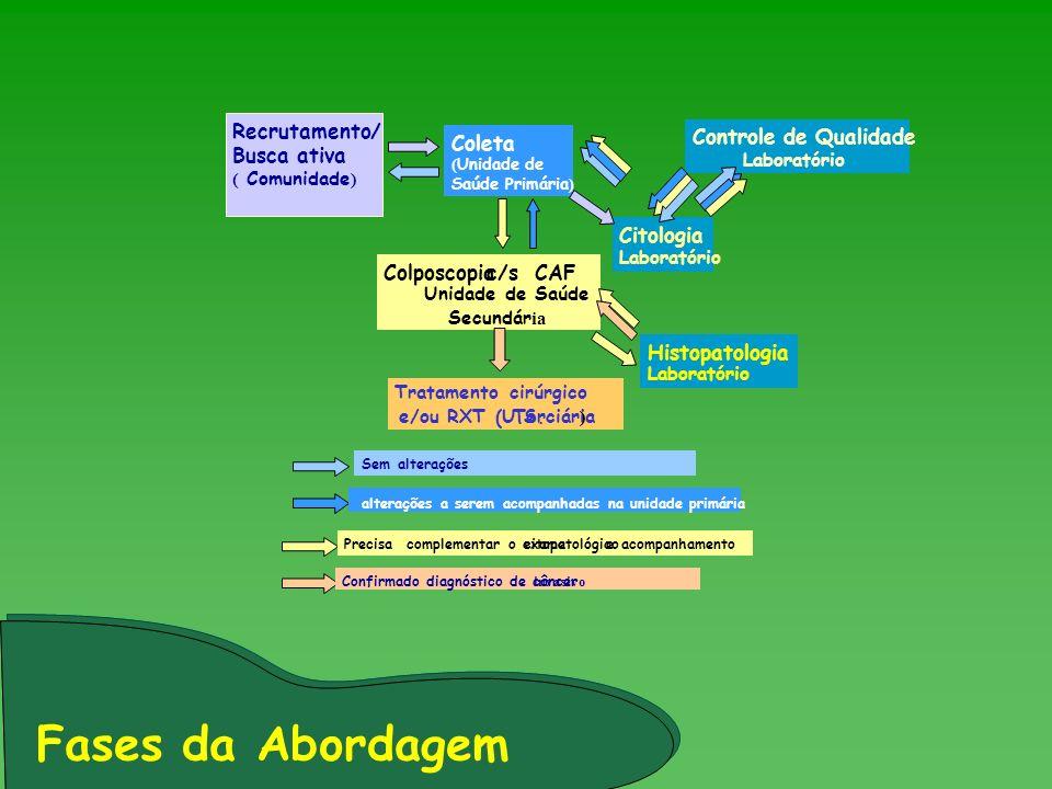 Recrutamento/ Busca ativa ( Comunidade ) Coleta ( Unidade de Saúde Primária ) Citologia Laboratório Controle de Qualidade Laboratório Histopatologia L