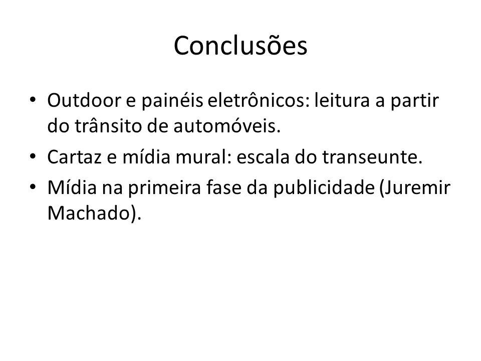 Conclusões Outdoor e painéis eletrônicos: leitura a partir do trânsito de automóveis. Cartaz e mídia mural: escala do transeunte. Mídia na primeira fa