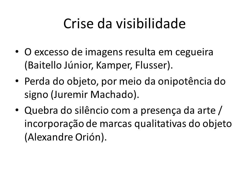 Crise da visibilidade O excesso de imagens resulta em cegueira (Baitello Júnior, Kamper, Flusser). Perda do objeto, por meio da onipotência do signo (