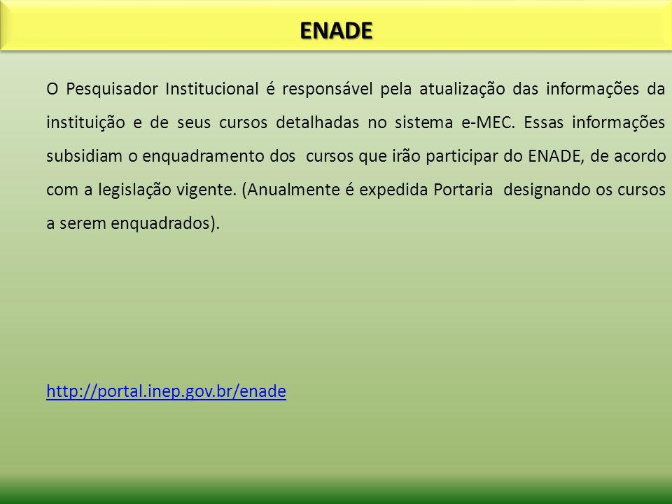 ENADEENADE O Pesquisador Institucional é responsável pela atualização das informações da instituição e de seus cursos detalhadas no sistema e-MEC. Ess