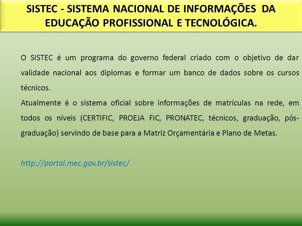 SISTEC - SISTEMA NACIONAL DE INFORMAÇÕES DA EDUCAÇÃO PROFISSIONAL E TECNOLÓGICA. O SISTEC é um programa do governo federal criado com o objetivo de da