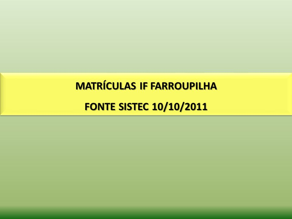 MATRÍCULAS IF FARROUPILHA FONTE SISTEC 10/10/2011