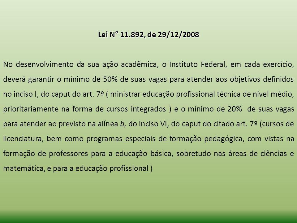 Lei N° 11.892, de 29/12/2008 No desenvolvimento da sua ação acadêmica, o Instituto Federal, em cada exercício, deverá garantir o mínimo de 50% de suas