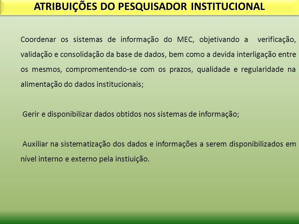 ATRIBUIÇÕES DO PESQUISADOR INSTITUCIONAL Coordenar os sistemas de informação do MEC, objetivando a verificação, validação e consolidação da base de da