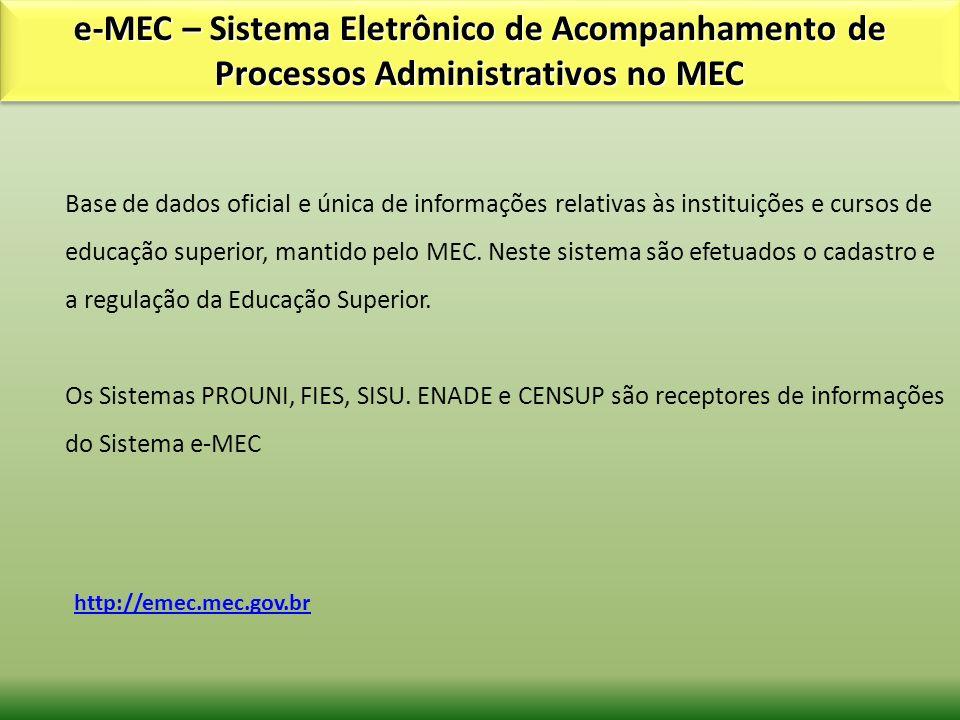e-MEC – Sistema Eletrônico de Acompanhamento de Processos Administrativos no MEC http://emec.mec.gov.br Base de dados oficial e única de informações r