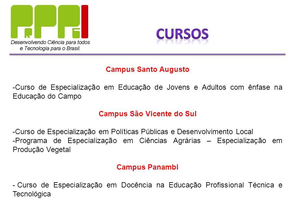 Campus Santo Augusto -Curso de Especialização em Educação de Jovens e Adultos com ênfase na Educação do Campo Campus São Vicente do Sul -Curso de Espe