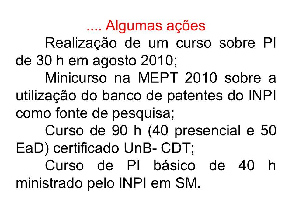 .... Algumas ações Realização de um curso sobre PI de 30 h em agosto 2010; Minicurso na MEPT 2010 sobre a utilização do banco de patentes do INPI como