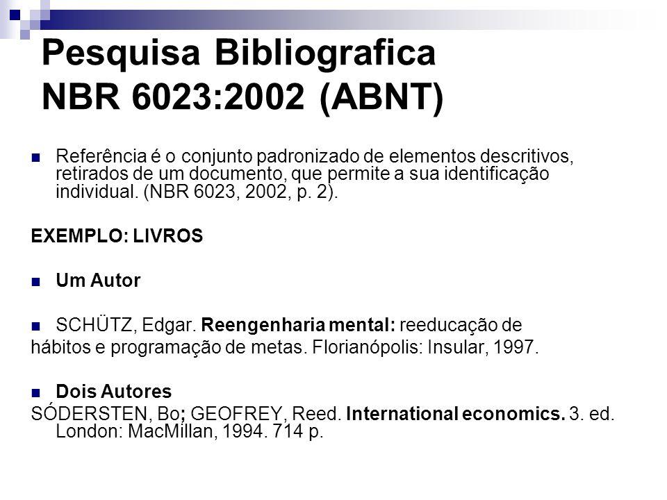 Pesquisa Bibliografica NBR 6023:2002 (ABNT) Referência é o conjunto padronizado de elementos descritivos, retirados de um documento, que permite a sua
