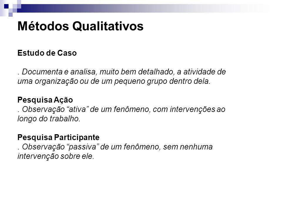 Métodos Qualitativos Estudo de Caso. Documenta e analisa, muito bem detalhado, a atividade de uma organização ou de um pequeno grupo dentro dela. Pesq