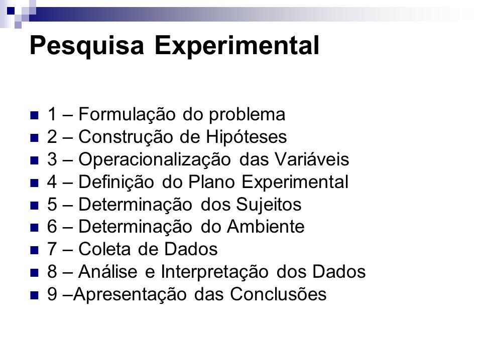 Pesquisa Experimental 1 – Formulação do problema 2 – Construção de Hipóteses 3 – Operacionalização das Variáveis 4 – Definição do Plano Experimental 5