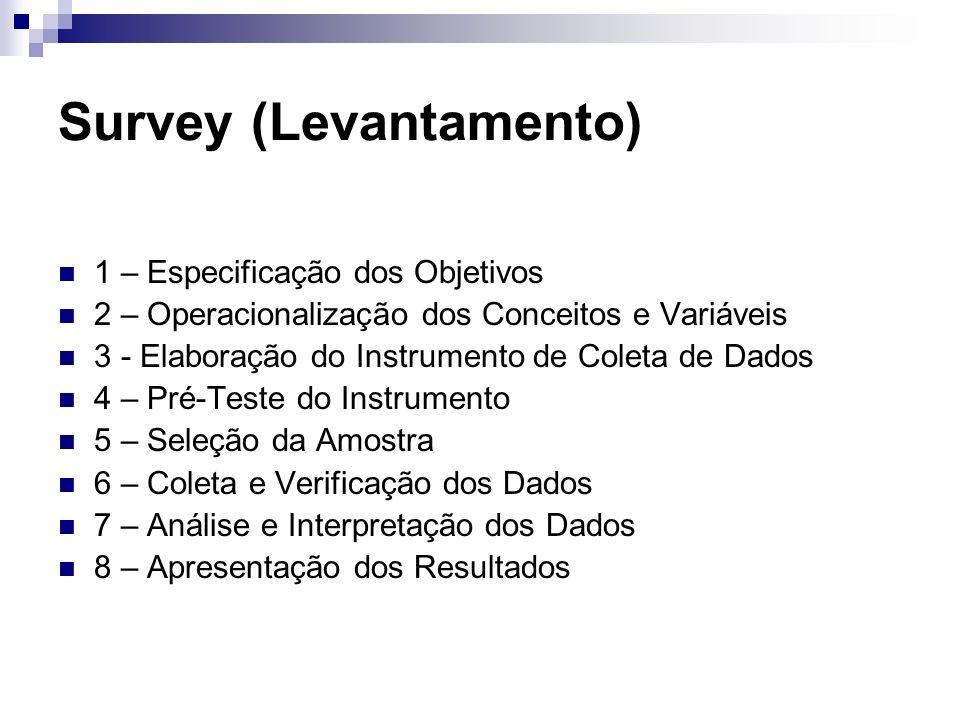 Survey (Levantamento) 1 – Especificação dos Objetivos 2 – Operacionalização dos Conceitos e Variáveis 3 - Elaboração do Instrumento de Coleta de Dados
