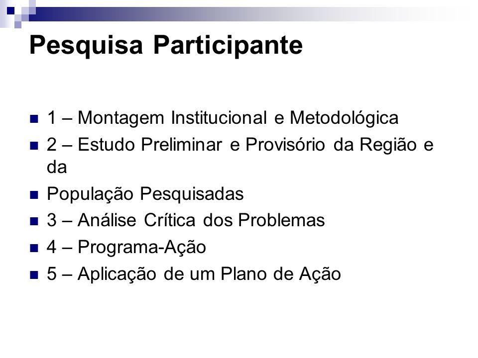 Pesquisa Participante 1 – Montagem Institucional e Metodológica 2 – Estudo Preliminar e Provisório da Região e da População Pesquisadas 3 – Análise Cr