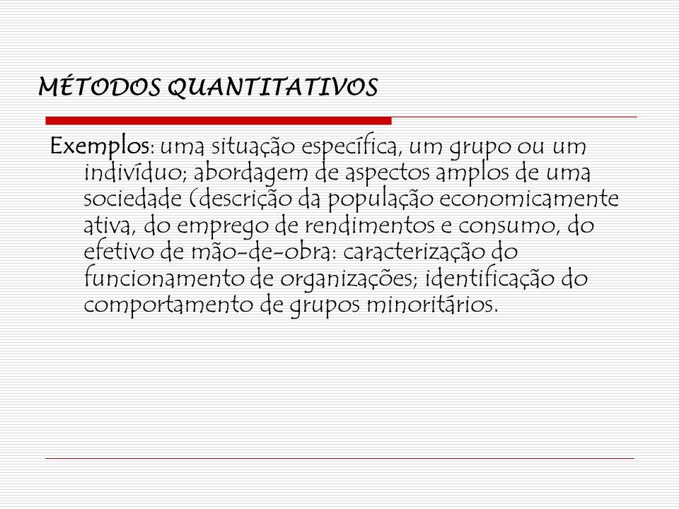 MÉTODOS QUANTITATIVOS Exemplos: uma situação específica, um grupo ou um indivíduo; abordagem de aspectos amplos de uma sociedade (descrição da populaç