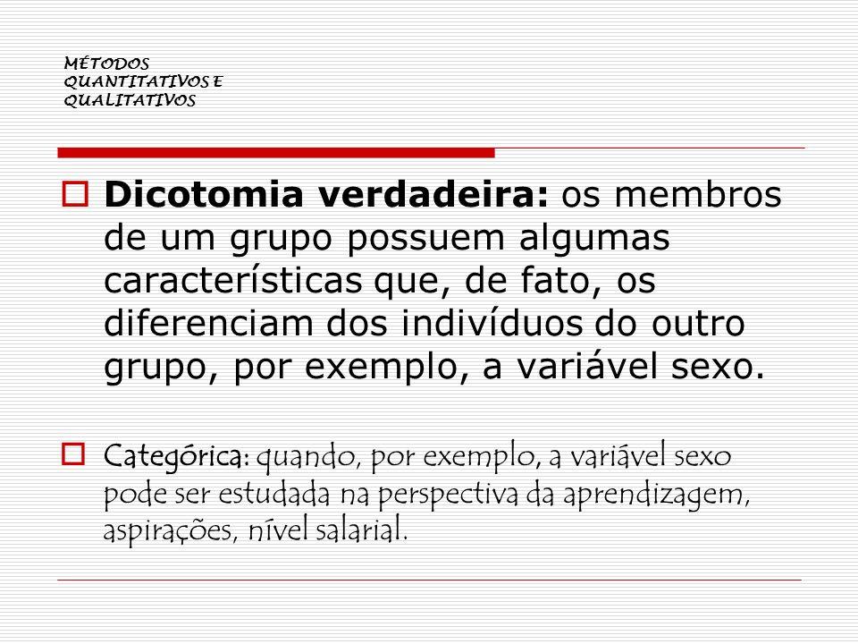 MÉTODOS QUANTITATIVOS E QUALITATIVOS Dicotomia verdadeira: os membros de um grupo possuem algumas características que, de fato, os diferenciam dos ind