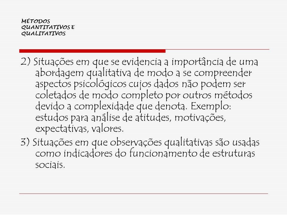 MÉTODOS QUANTITATIVOS E QUALITATIVOS 2) Situações em que se evidencia a importância de uma abordagem qualitativa de modo a se compreender aspectos psi