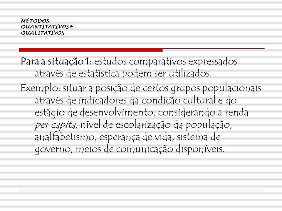 MÉTODOS QUANTITATIVOS E QUALITATIVOS Para a situação 1: estudos comparativos expressados através de estatística podem ser utilizados. Exemplo: situar