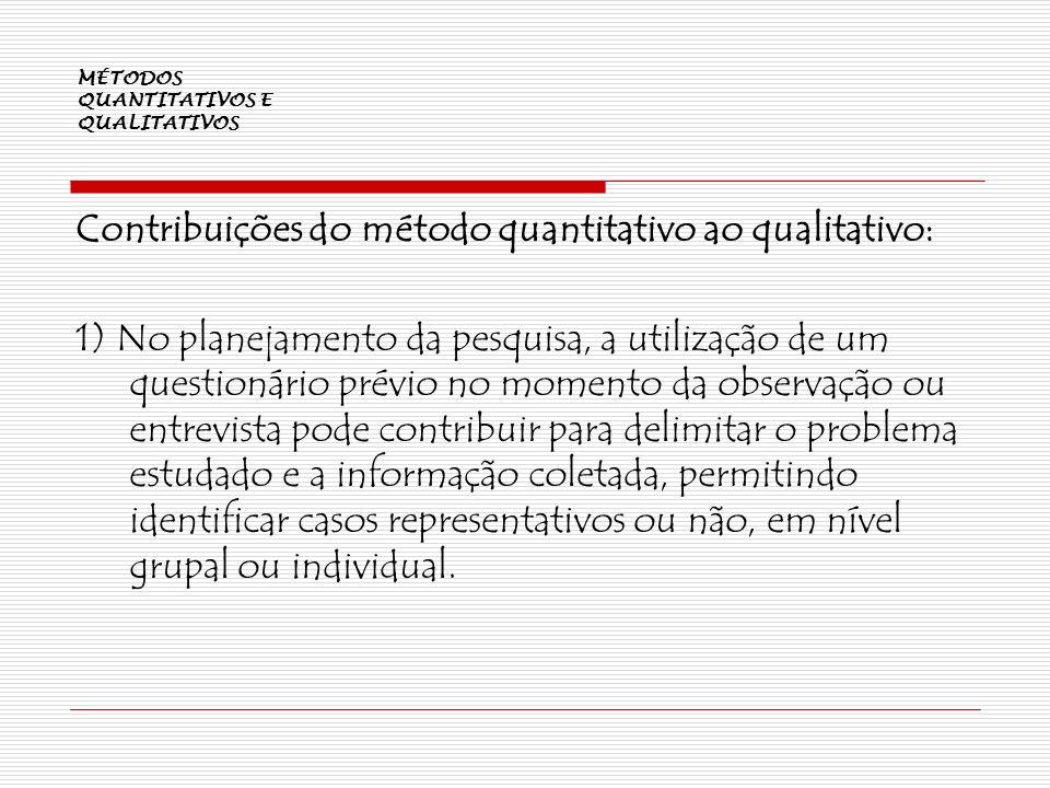 MÉTODOS QUANTITATIVOS E QUALITATIVOS Contribuições do método quantitativo ao qualitativo: 1) No planejamento da pesquisa, a utilização de um questioná