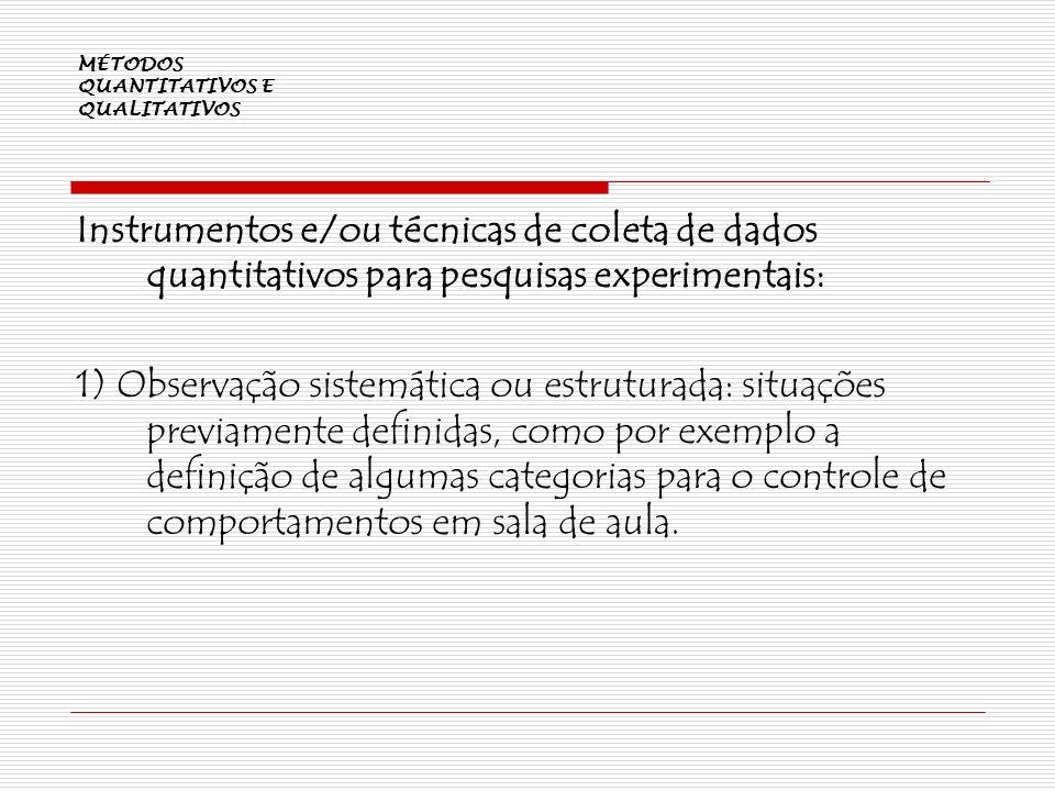 MÉTODOS QUANTITATIVOS E QUALITATIVOS Instrumentos e/ou técnicas de coleta de dados quantitativos para pesquisas experimentais: 1) Observação sistemáti