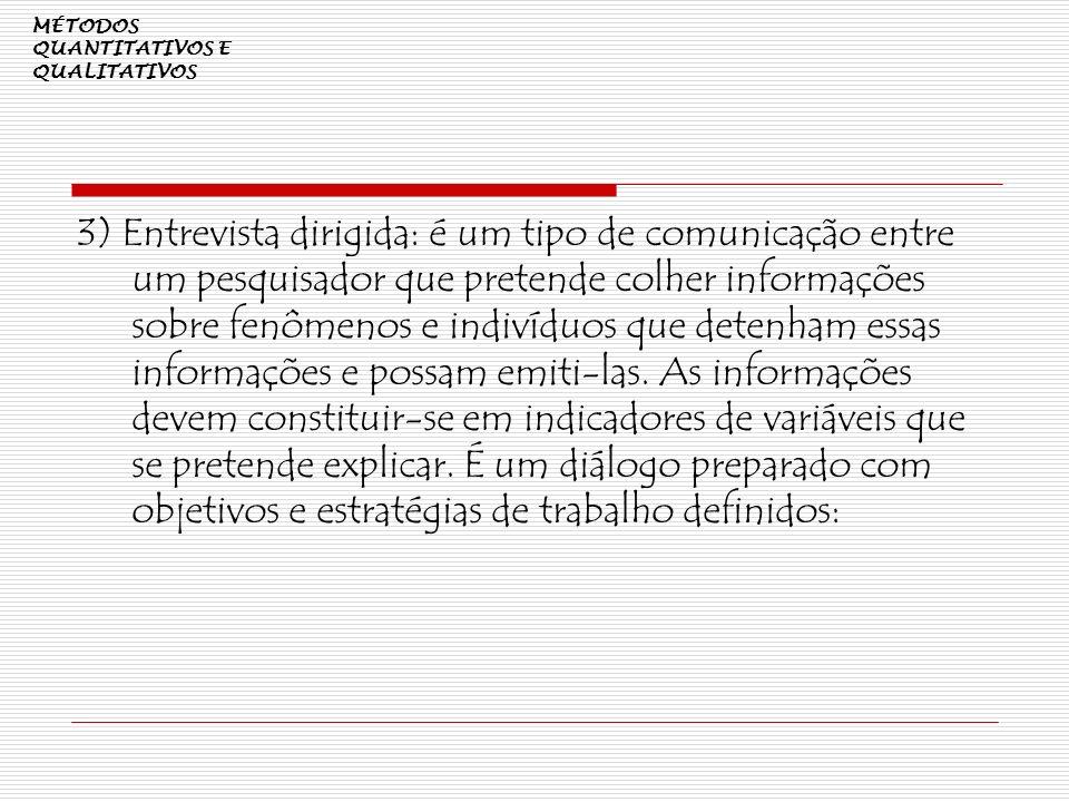 MÉTODOS QUANTITATIVOS E QUALITATIVOS 3) Entrevista dirigida: é um tipo de comunicação entre um pesquisador que pretende colher informações sobre fenôm