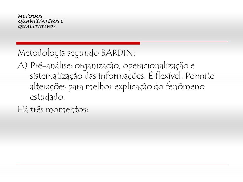 MÉTODOS QUANTITATIVOS E QUALITATIVOS Metodologia segundo BARDIN: A) Pré-análise: organização, operacionalização e sistematização das informações. È fl