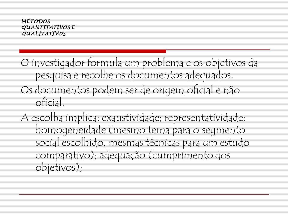 MÉTODOS QUANTITATIVOS E QUALITATIVOS O investigador formula um problema e os objetivos da pesquisa e recolhe os documentos adequados. Os documentos po