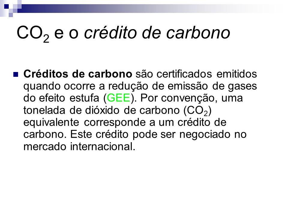 CO 2 e o crédito de carbono Créditos de carbono são certificados emitidos quando ocorre a redução de emissão de gases do efeito estufa (GEE). Por conv