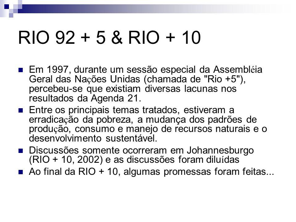 RIO 92 + 5 & RIO + 10 Em 1997, durante um sessão especial da Assembl é ia Geral das Na ç ões Unidas (chamada de